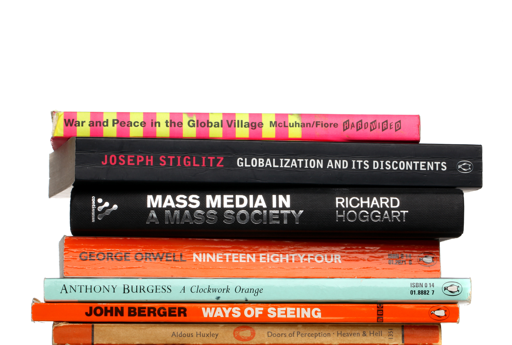 London, United Kingdom - August 24, 2011: Media and literature books. Incuding titles by Marshall Mcluhan, Joseph Stiglitz and George Orwell